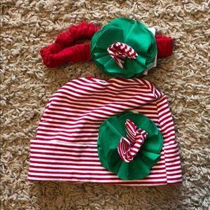 Infant holiday beanie and headband